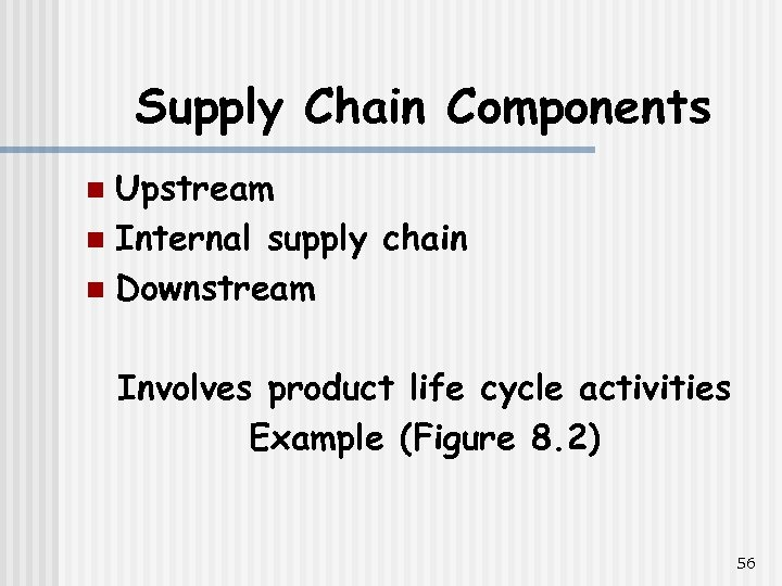 Supply Chain Components Upstream n Internal supply chain n Downstream n Involves product life