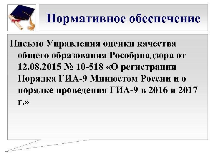 Нормативное обеспечение Письмо Управления оценки качества общего образования Рособрнадзора от 12. 08. 2015 №