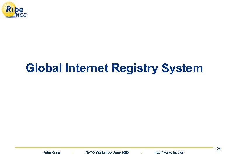 Global Internet Registry System John Crain . NATO Workshop, June 2000 . http: //www.