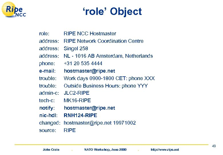 'role' Object role: address: phone: e-mail: trouble: admin-c: tech-c: notify: nic-hdl: changed: source: John