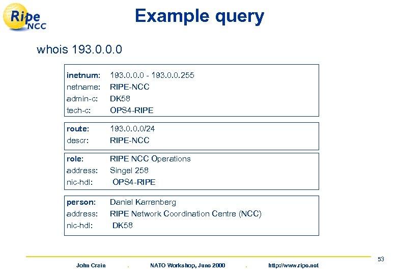 Example query whois 193. 0. 0. 0 inetnum: netname: admin-c: tech-c: 193. 0. 0.
