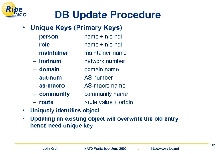 DB Update Procedure • Unique Keys (Primary Keys) – person name + nic-hdl –