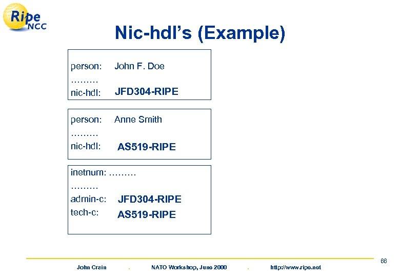 Nic-hdl's (Example) person: John F. Doe ……… JFD 304 -RIPE nic-hdl: AUTO-1 JFD person: