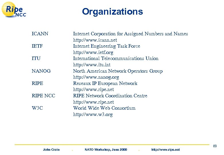 Organizations ICANN Internet Corporation for Assigned Numbers and Names http: //www. icann. net Internet