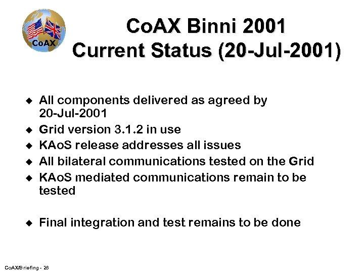 Co. AX u u u Co. AX Binni 2001 Current Status (20 -Jul-2001) All