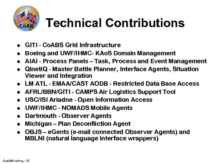 Co. AX u u u Technical Contributions GITI - Co. ABS Grid Infrastructure Boeing