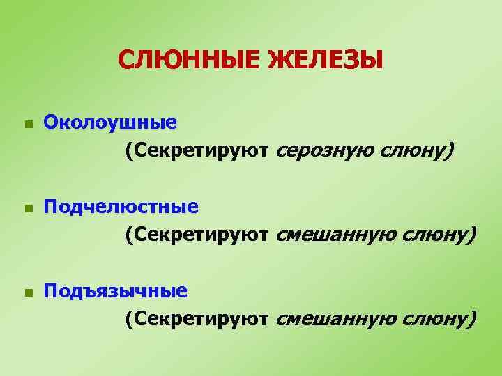 СЛЮННЫЕ ЖЕЛЕЗЫ n n n Околоушные (Секретируют серозную слюну) Подчелюстные (Секретируют смешанную слюну) Подъязычные