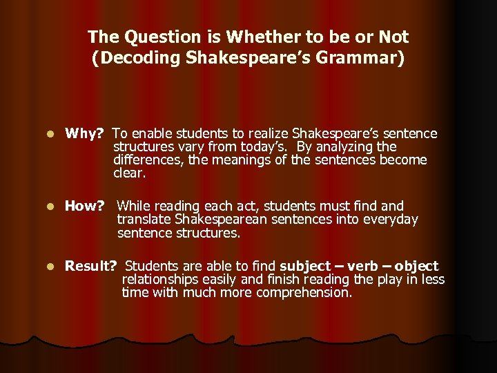 The Question is Whether to be or Not (Decoding Shakespeare's Grammar) l Why? To