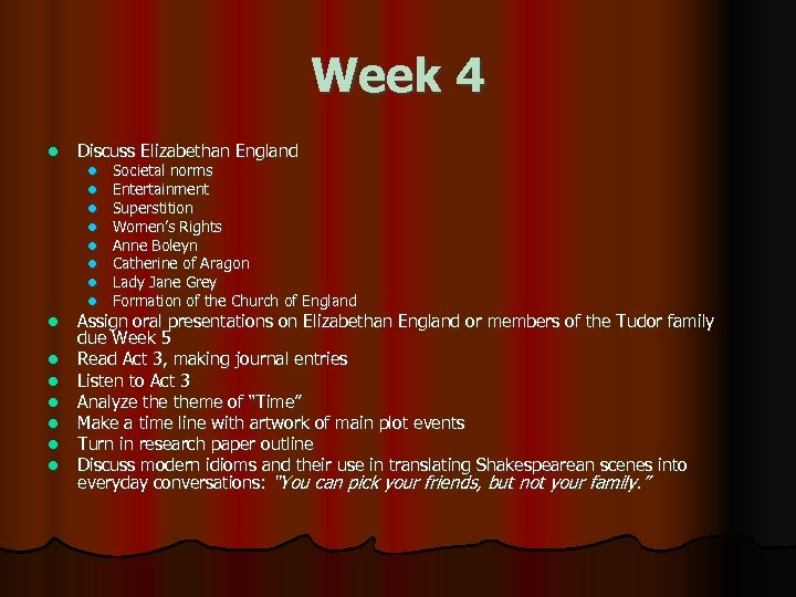 Week 4 l Discuss Elizabethan England l l l l Societal norms Entertainment Superstition
