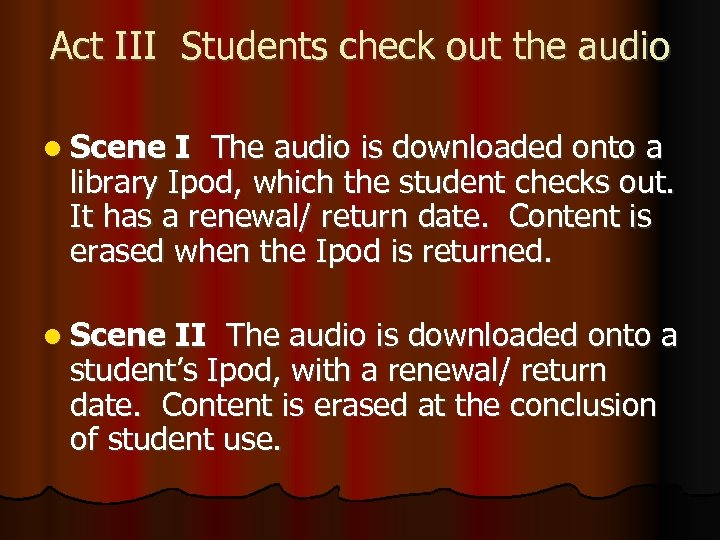 Act III Students check out the audio l Scene I The audio is downloaded