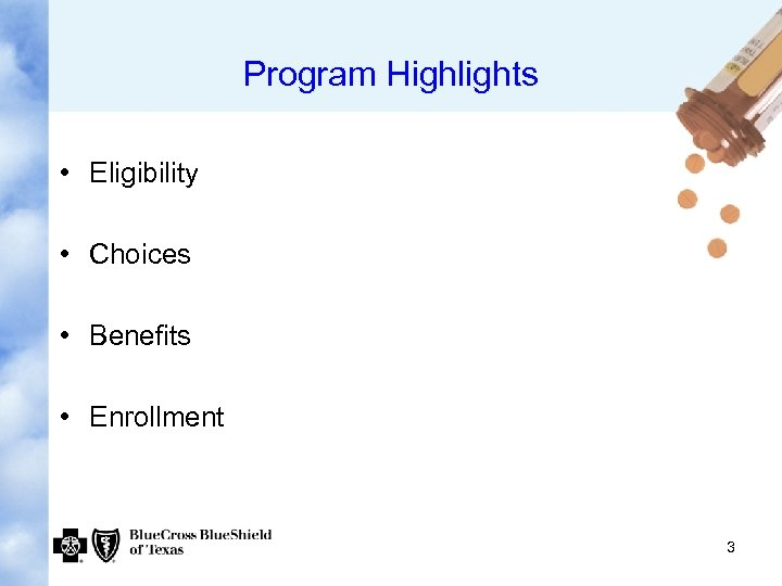 Program Highlights • Eligibility • Choices • Benefits • Enrollment 3