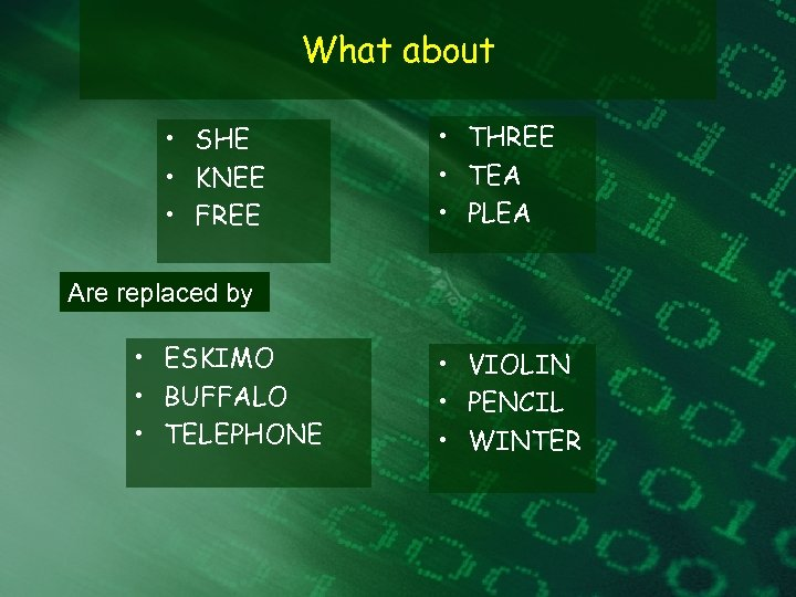 What about • SHE • KNEE • FREE • THREE • TEA • PLEA