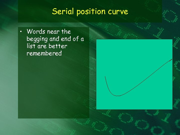 Serial position curve • Words near the begging and end of a list are