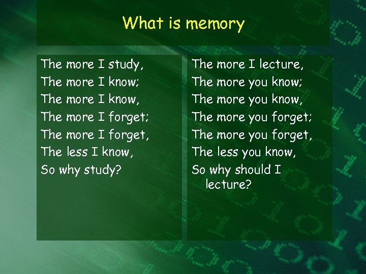 What is memory The more I study, The more I know; The more I