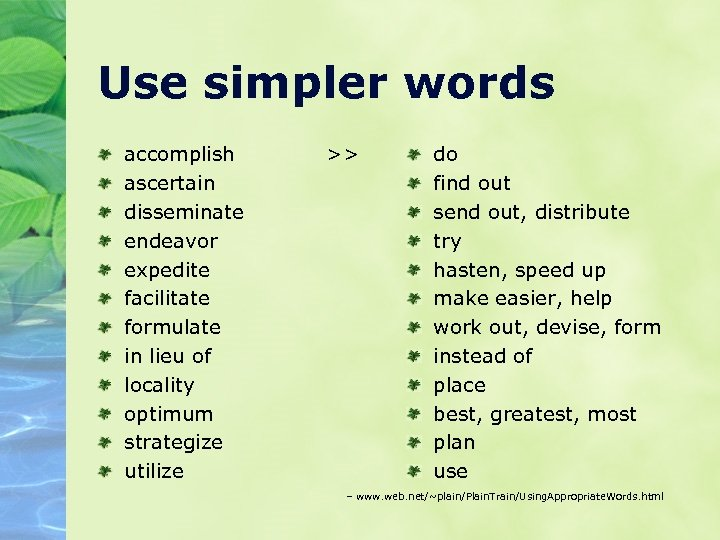 Use simpler words accomplish ascertain disseminate endeavor expedite facilitate formulate in lieu of locality
