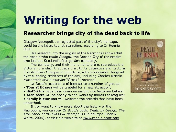 Writing for the web Researcher brings city of the dead back to life Glasgow