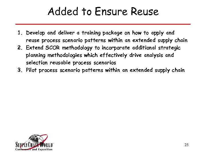 Added to Ensure Reuse 1. Develop and deliver a training package on how to