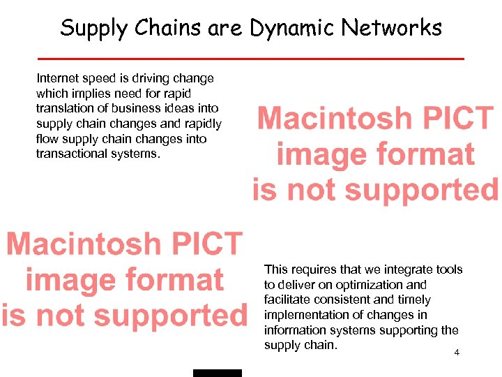 Supply Chains are Dynamic Networks Internet speed is driving change which implies need for