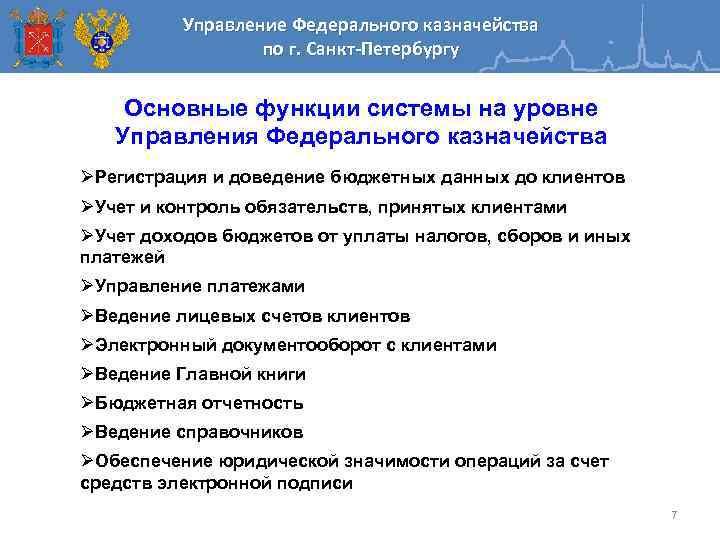 Управление Федерального казначейства по г. Санкт-Петербургу Основные функции системы на уровне Управления Федерального казначейства