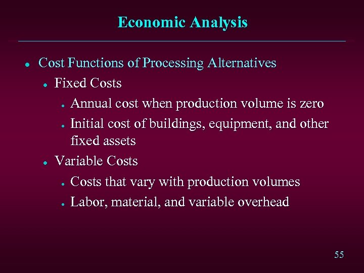 Economic Analysis l Cost Functions of Processing Alternatives l Fixed Costs Annual cost when