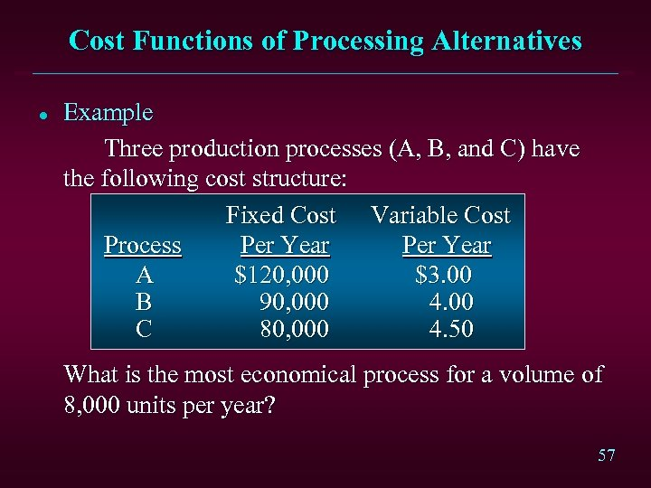 Cost Functions of Processing Alternatives l Example Three production processes (A, B, and C)