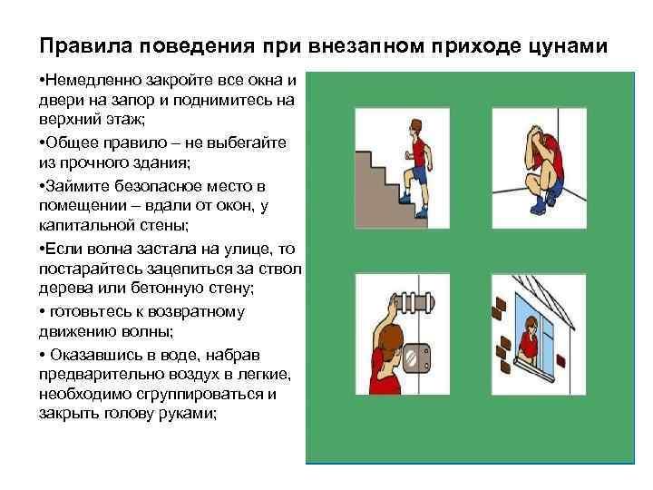 Правила поведения при внезапном приходе цунами • Немедленно закройте все окна и двери на