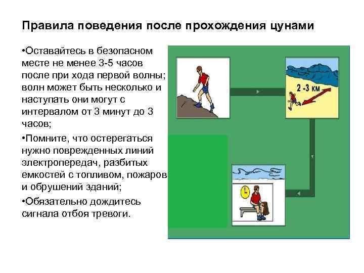 Правила поведения после прохождения цунами • Оставайтесь в безопасном месте не менее 3 -5
