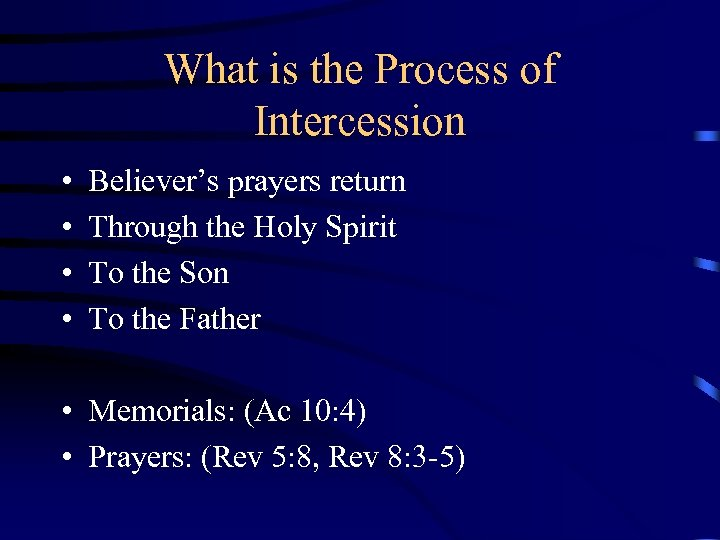 What is the Process of Intercession • • Believer's prayers return Through the Holy