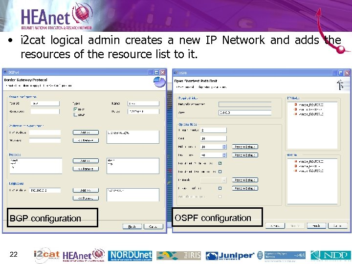 • i 2 cat logical admin creates a new IP Network and adds