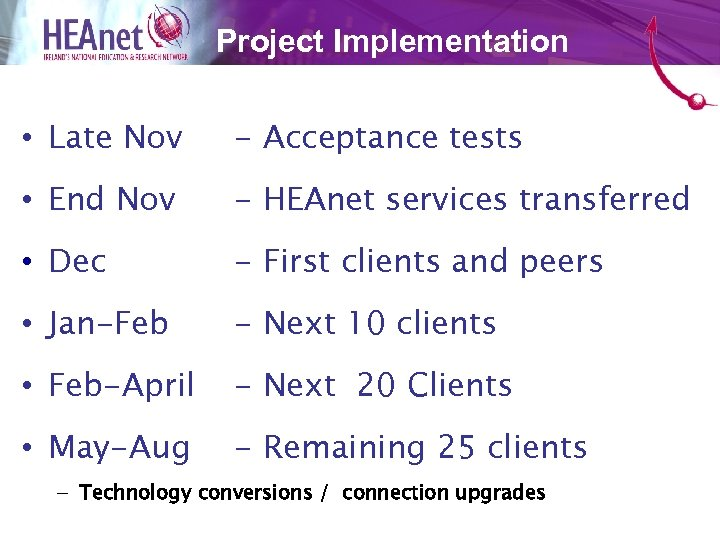 Project Implementation • Late Nov - Acceptance tests • End Nov - HEAnet services