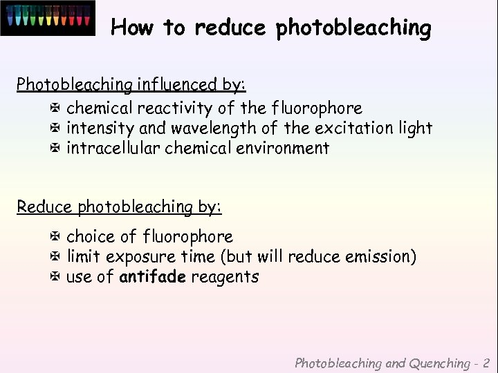 How to reduce photobleaching Photobleaching influenced by: X chemical reactivity of the fluorophore X