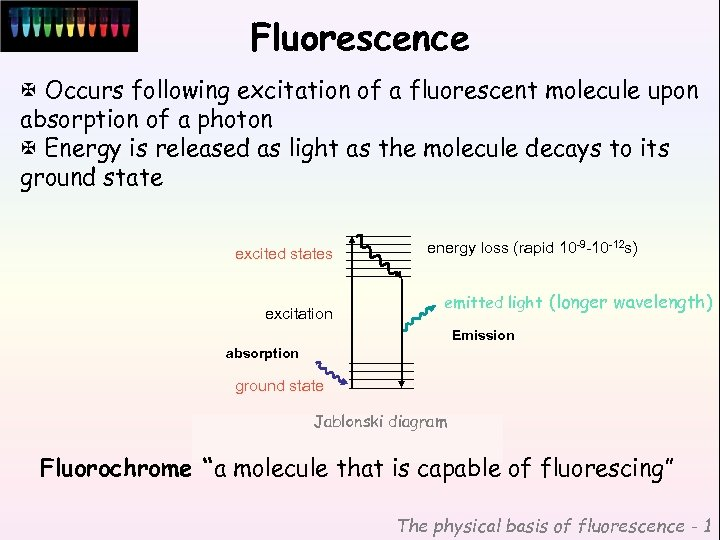 Fluorescence X Occurs following excitation of a fluorescent molecule upon absorption of a photon