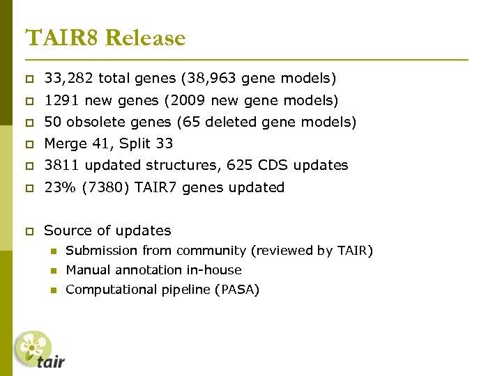 TAIR 8 Release 33, 282 total genes (38, 963 gene models) 1291 new genes