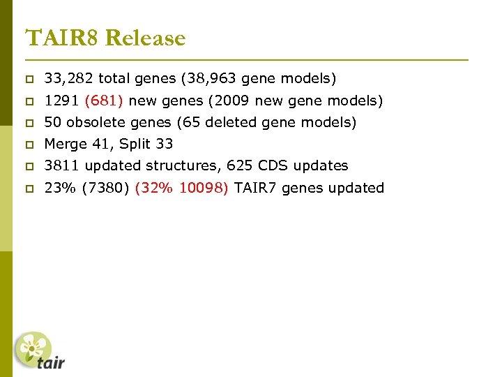 TAIR 8 Release 33, 282 total genes (38, 963 gene models) 1291 (681) new