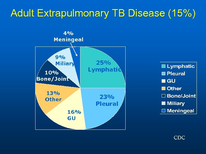 Adult Extrapulmonary TB Disease (15%) 4% Meningeal 9% Miliary 10% Bone/Joint 13% Other 25%