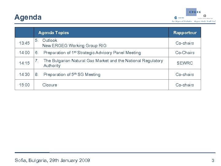 Agenda Topics Rapporteur 13: 45 5. Outlook New ERGEG Working Group RIG Co-chairs 14:
