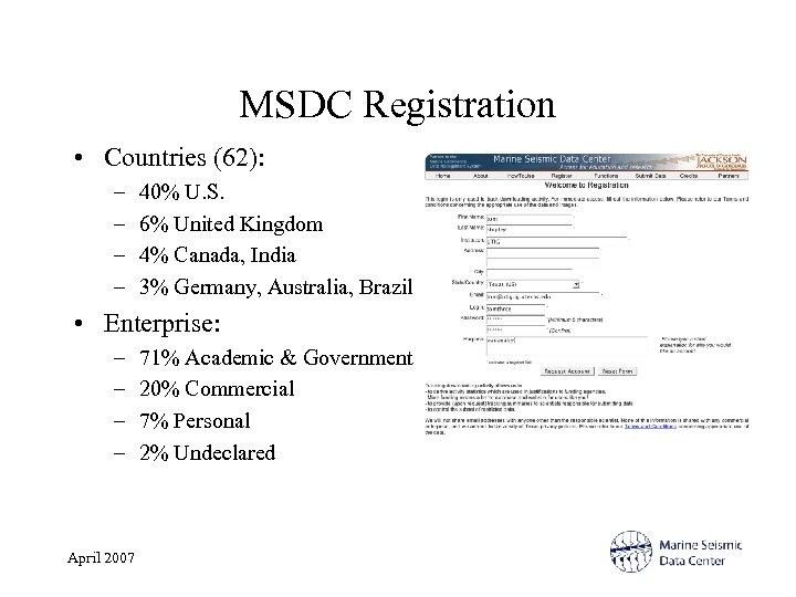 MSDC Registration • Countries (62): – – 40% U. S. 6% United Kingdom 4%