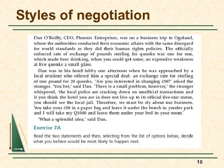Styles of negotiation 10