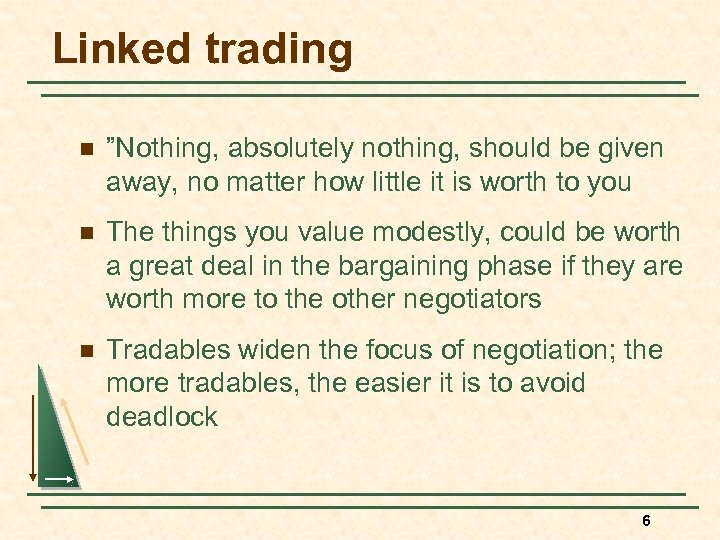 """Linked trading n """"Nothing, absolutely nothing, should be given away, no matter how little"""
