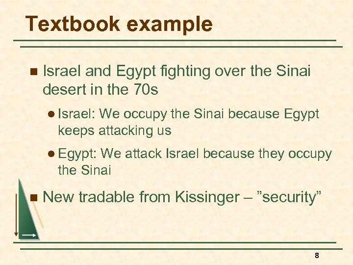 Textbook example n Israel and Egypt fighting over the Sinai desert in the 70