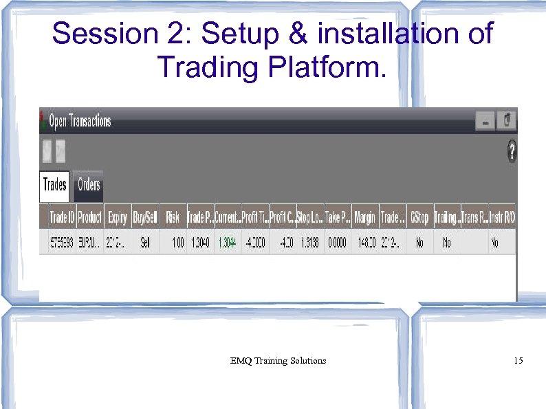 Session 2: Setup & installation of Trading Platform. EMQ Training Solutions 15