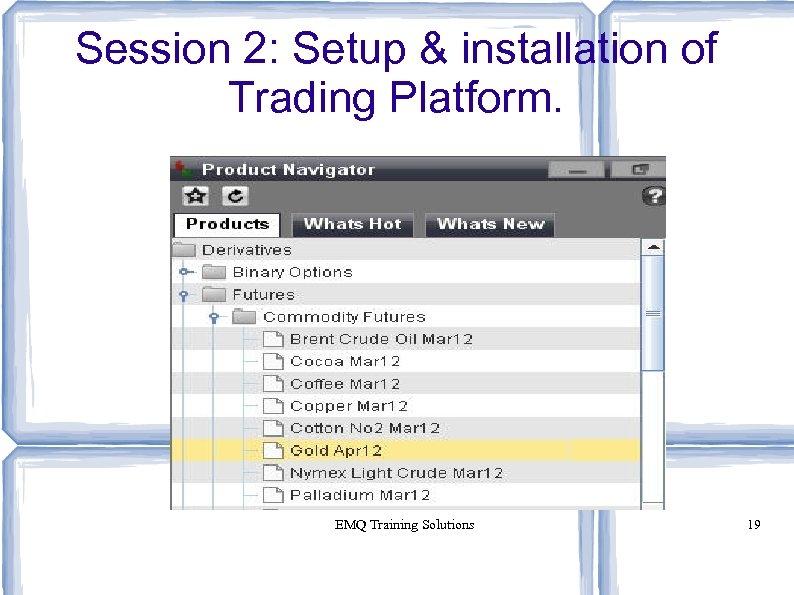 Session 2: Setup & installation of Trading Platform. EMQ Training Solutions 19