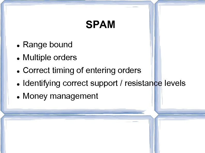SPAM Range bound Multiple orders Correct timing of entering orders Identifying correct support /