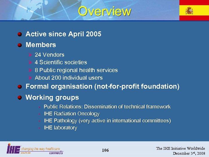 Overview Active since April 2005 Members Ø Ø 24 Vendors 4 Scientific societies 8
