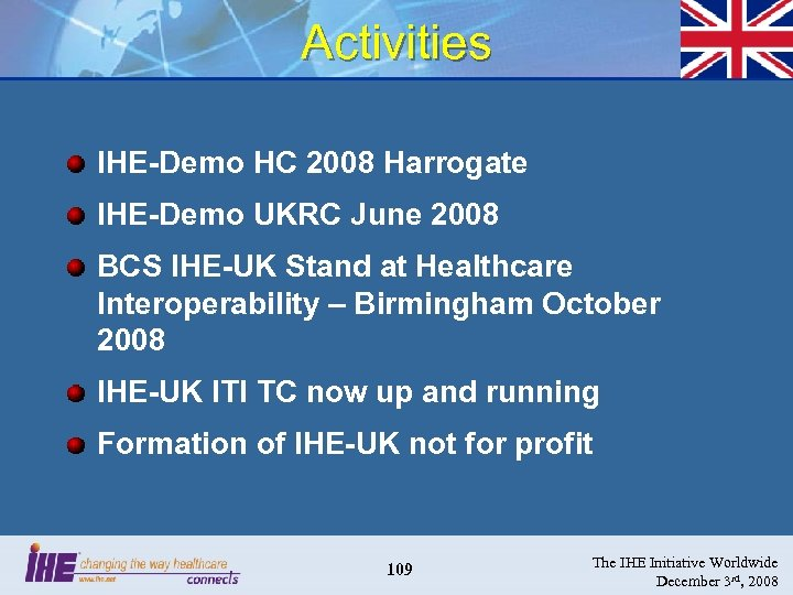 Activities IHE-Demo HC 2008 Harrogate IHE-Demo UKRC June 2008 BCS IHE-UK Stand at Healthcare
