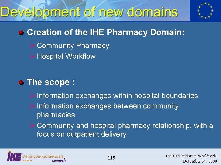 Development of new domains Creation of the IHE Pharmacy Domain: Ø Community Pharmacy Ø