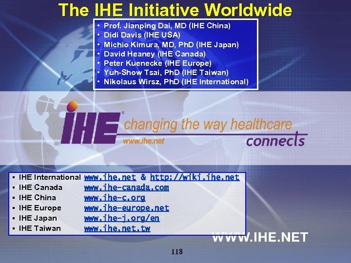 The IHE Initiative Worldwide • • § § § IHE International IHE Canada IHE