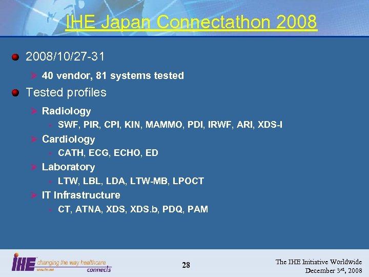 IHE Japan Connectathon 2008/10/27 -31 Ø 40 vendor, 81 systems tested Tested profiles Ø