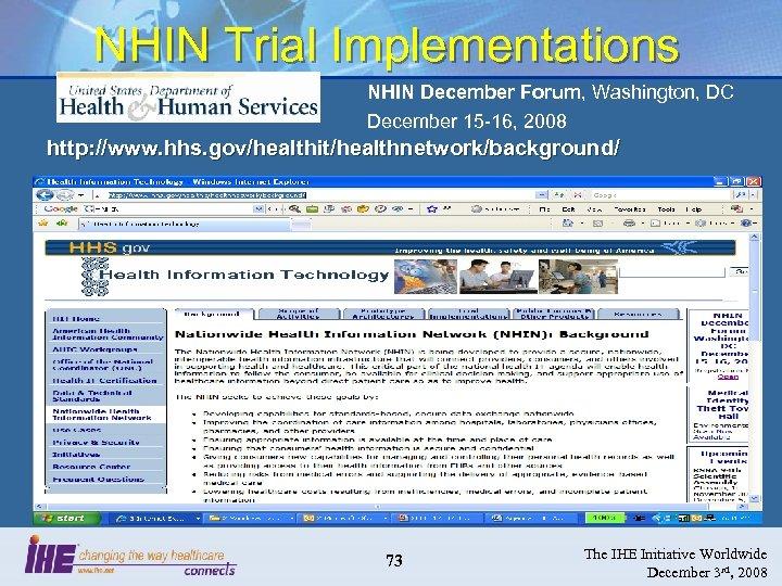 NHIN Trial Implementations NHIN December Forum, Washington, DC December 15 -16, 2008 http: //www.
