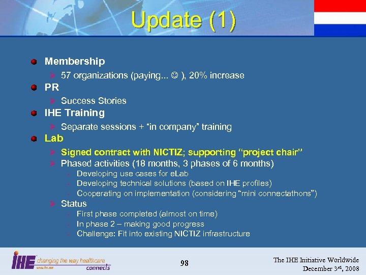 Update (1) Membership Ø 57 organizations (paying. . . ), 20% increase PR Ø
